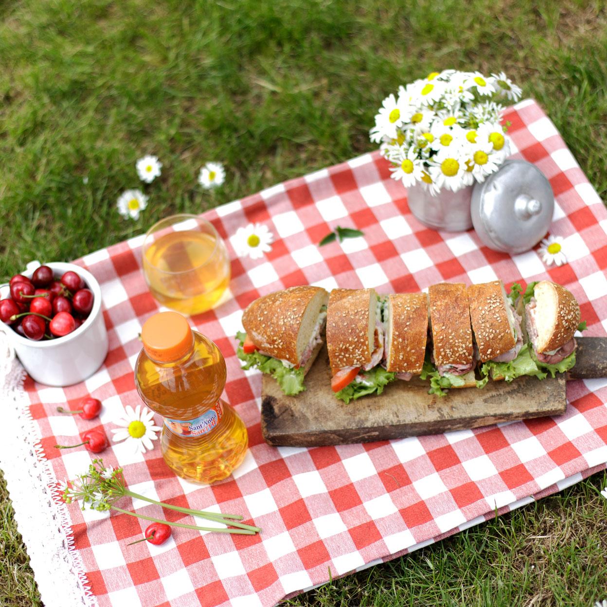 Picnic con tovaglia a quadri, sandwich, margherite e SanThe alla pesca