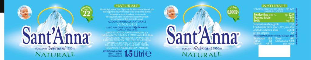 Etichetta con valori Acqua Sant'Anna naturale